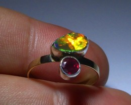 Sz 7 14K gold, sterling, ruby and welo opal