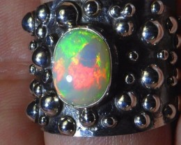 Sz13 Natural Ethiopian Opal .925 Silver Taxco Handmade Boho Ring Men's Jew