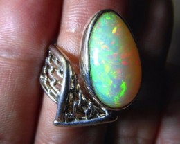 Sz 6-9 Natural Ethiopian Opal .950 Silver Taxco Handmade Boho Ring Men's Je