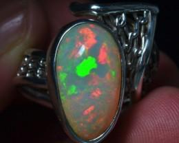 Sz 6-9 Natural Ethiopian Opal .925 Silver Taxco Handmade Boho Ring  Je
