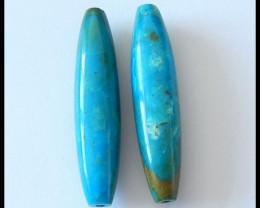 45.5 cts Long Peruvian Blue Opal Beads Pair