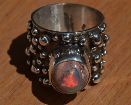 Sz 7.5 Natural Mexican Matrix Opal .925 Silver Taxco Handmade Boho Ring  Je