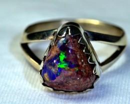 Sz 8.5 Natural Ethiopian Opal .925 Silver Taxco Handmade Boho Ring Men's Je