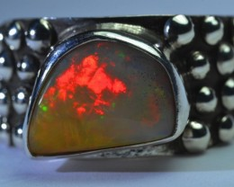 Sz 12.5 Natural Ethiopian Opal .925 Silver Taxco Handmade Boho Ring Men's J