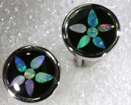 OPAL INLAY CUFF LINKS 33.90 CTS OF-1189
