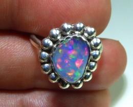 Sz 6 Natural Ethiopian Opal .925 Silver Taxco Handmade Boho Ring  Jew
