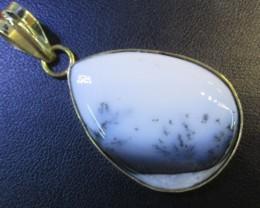 66 Cts   Cabochon Dendritic Opal pendant GP  BU 895