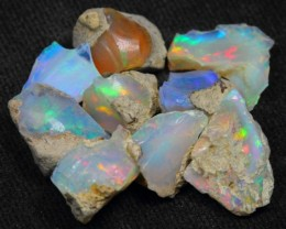 41.75Ct Bright Multi Color Play Ethiopian Welo Rough Opal Lot