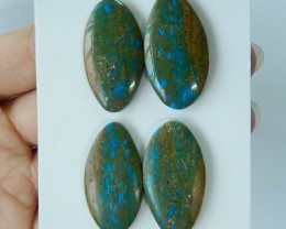 50 Ct Natural Peruvian Blue Opal Gemstone Cabochon Pairs