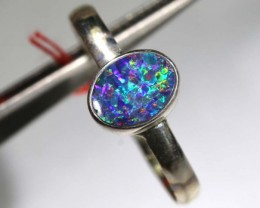 9.50 CTS DOUBLET OPAL SILVER RING OF-1216