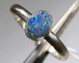 9.40 CTS DOUBLET OPAL SILVER RING OF-1217