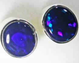 Natural solid black  opal earrings set in silver Bu 951