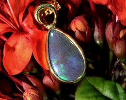 Green Fire Flash Solid Black Opal 18K Gold Pendant SCO83