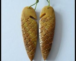 50.5 ct Yellow Opal Bird Carving Earring Beads