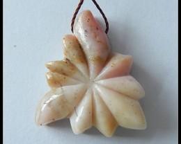 29.4 ct Pink Opal Flower Carving Pendant Bead, Sweet Pendant