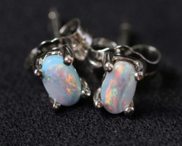 Natural solid  Boulder opal earrings set in silver BU 1156