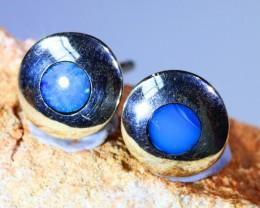 XMAS GIFT  solid  inlay opal earrings set in silver BU 1157
