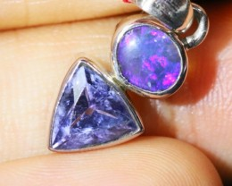 Solid Opal & Tanzanite Pendants