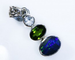 9.85 OPAL WITH GEMSTONES  SILVER PENDANT[SOJ5132 ]