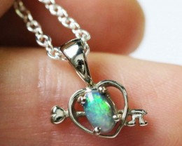 Cute BLACK  Opal Heart shape pendant 18K white gold  BU 1199