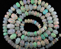 45+ Cts Natural Multi Color Play Ethiopian Opal Roundel Beads NR