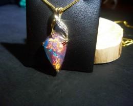 Australian Opal free-form Triplet Gold Pendant 14K Gold