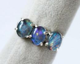 Aussie  Cluster Opal  Triplet  in silver Ring size 4.5  BU1247