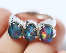 Aussie  Cluster Opal  Triplet  in silver Ring size0  BU1248
