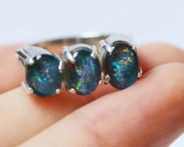 Aussie  Cluster Opal  Triplet  in silver Ring size 5.5  BU1250