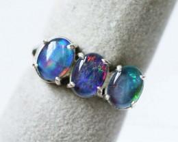 Aussie  Cluster Opal  Triplet  in silver Ring size 5  BU1251