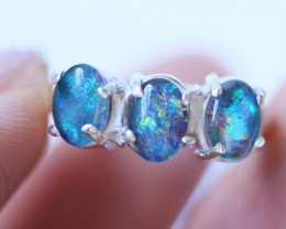 Aussie Cluster Opal Mosaic Triplet  in silver Ring size 4.5BU1252