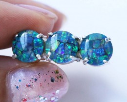 Aussie  Cluster Opal Mosaic Triplet  in silver Ring size 7  BU1255