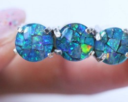 Aussie  Cluster Opal Mosaic Triplet  in silver Ring size6  BU1258