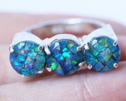 Aussie  Cluster Opal Mosaic Triplet  in silver Ring size 6  BU1260
