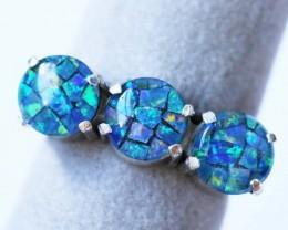 Aussie  Cluster Opal Mosaic Triplet  in silver Ring size 5.5  BU1261