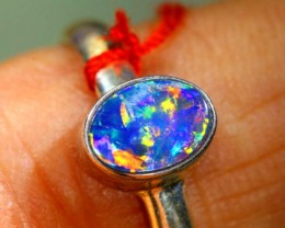 9.55 CTS DOUBLET OPAL SILVER RING OF-1221