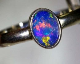 9.5 CTS DOUBLET OPAL SILVER RING OF-1227