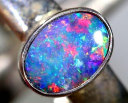 16.7CTS DOUBLET OPAL SILVER RING OF-1231