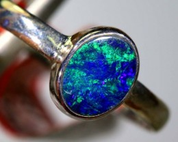 9.2CTS DOUBLET OPAL SILVER RING OF-1232