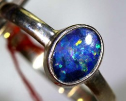 9.8CTS DOUBLET OPAL SILVER RING OF-1236