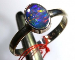 9.75 CTS DOUBLET OPAL SILVER RING OF-1241