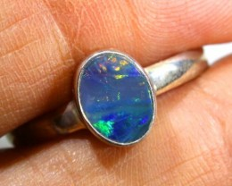 9.10 CTS DOUBLET OPAL SILVER RING OF-1244