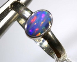 9 CTS DOUBLET OPAL SILVER RING OF-1246