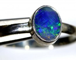 8.95 CTS DOUBLET OPAL SILVER RING OF-1248