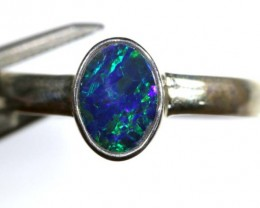 8.80 CTS DOUBLET OPAL SILVER RING OF-1251