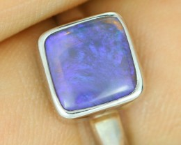7.75 RING SIZE SOLID BLACK  CRYSTAL OPAL -FACTORY DIRECT [SOJ1505]