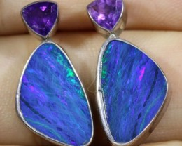 Opal And Amethyst Earrings