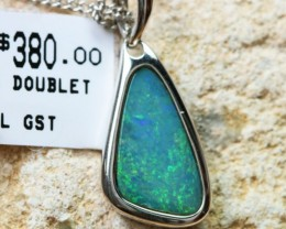Doublet Opal set in hand made silver Pendant192258-DO
