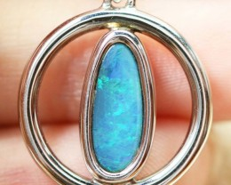 Doublet Opal set in hand made silver Pendant192167-10