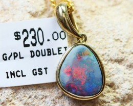 Doublet Opal set in hand made silver Pendant 192263-DO